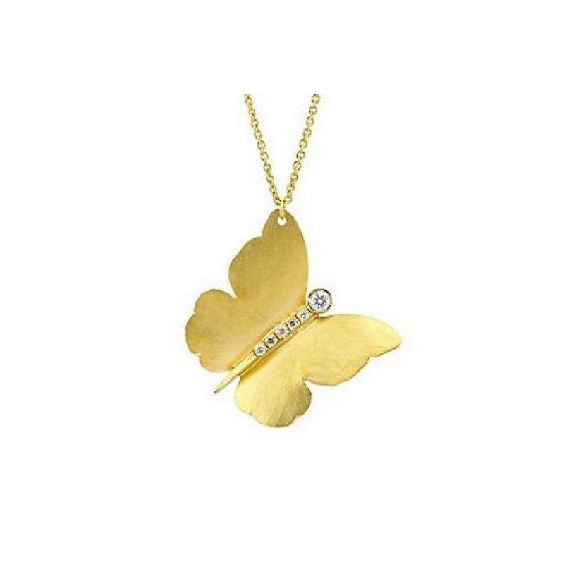 King's Gold Butterfly Pendant with Diamonds