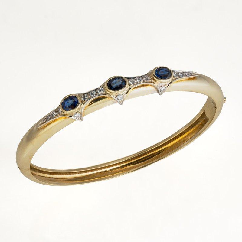 King's Estate 18kt Yel Sapphire & Diamond Bangle Bracelet