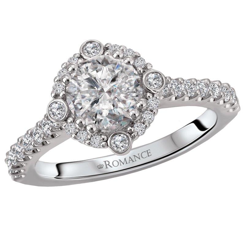 King's Bridal Diamond Engagement Ring 1.01ct w/Diam Halo and Shank