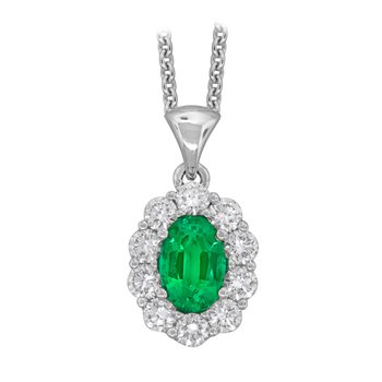 18kt Wht Gold Oval Emerald & Diamond Pendant