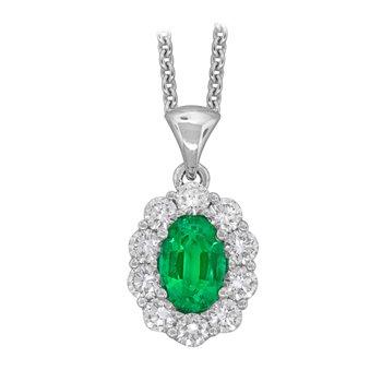18kt Wht Gold Oval Emerald & Diamond Pendant