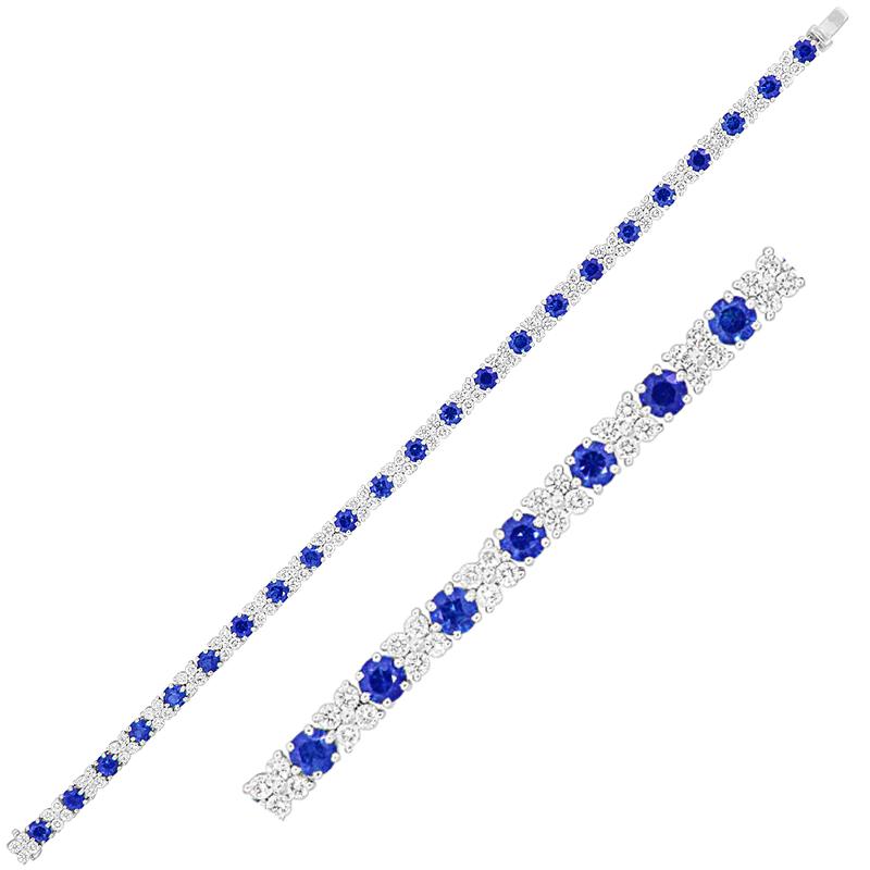 King's Sapphire and Diamond Line Bracelet