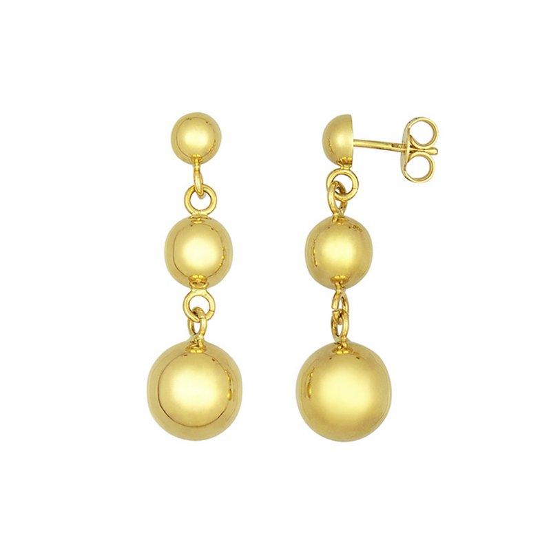 King's Gold Graduated Ball Earrings