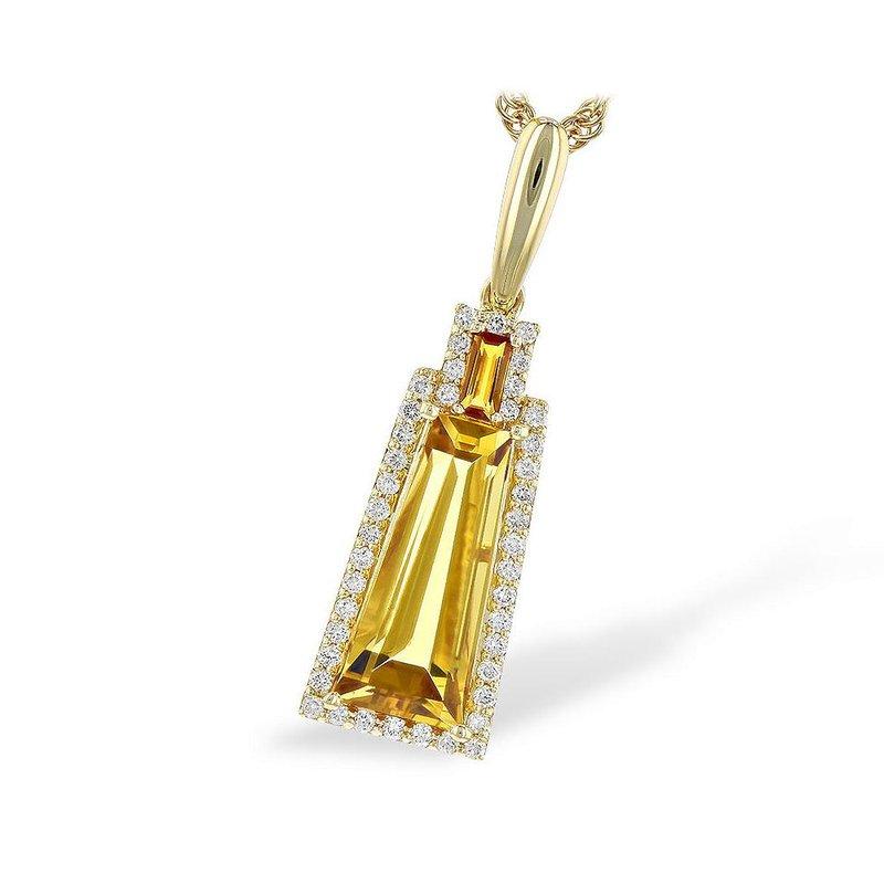 King's Honey Citrine and Diamond Pendant