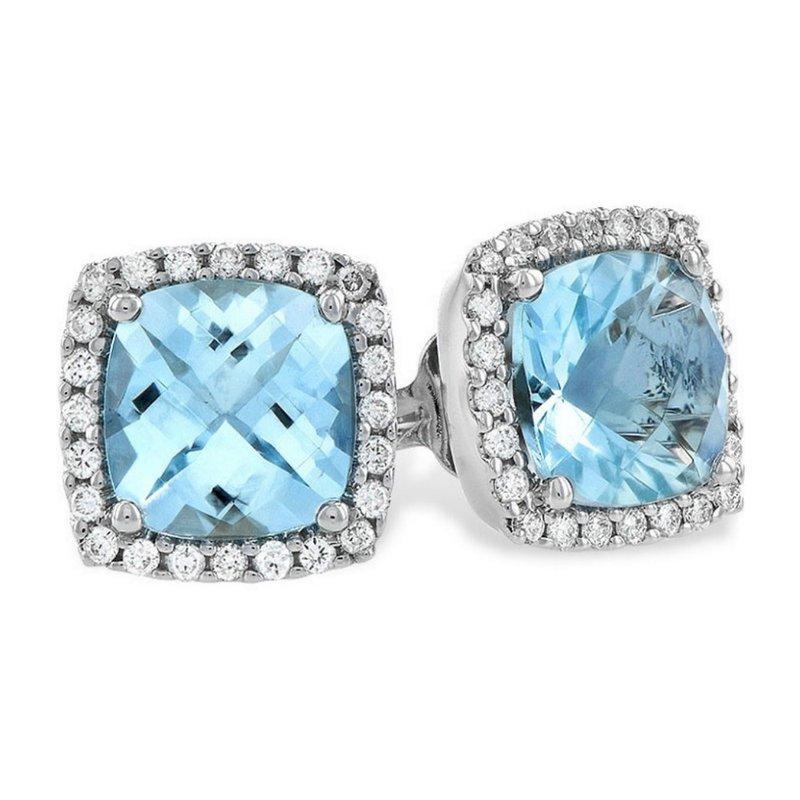King's Aquamarine and Diamond Stud Earrings
