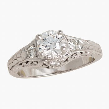 Diamond Engagement Ring 18kw Filigree