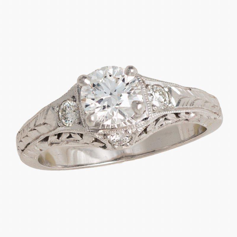 King's Bridal Diamond Engagement Ring 18kw Filigree