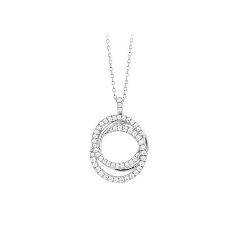 King's 14kt Wht Double Circle Diamond Pendant