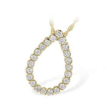 "14kt Yel Diamond Teardrop Pendant .50tw 18"" Chain"