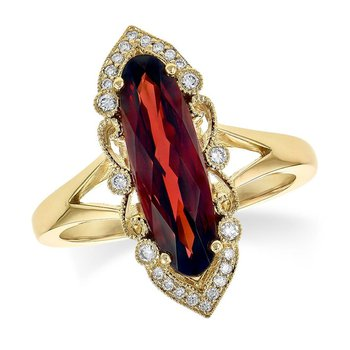 Oblong Garnet and Diamond Ring