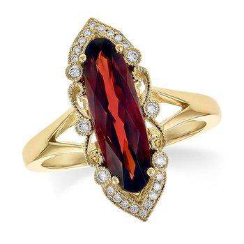 Oblong Garnet and Diamond Ring