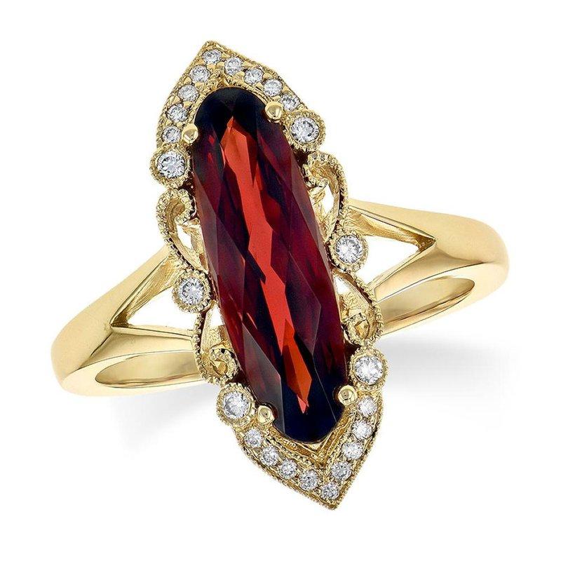 King's Oblong Garnet and Diamond Ring