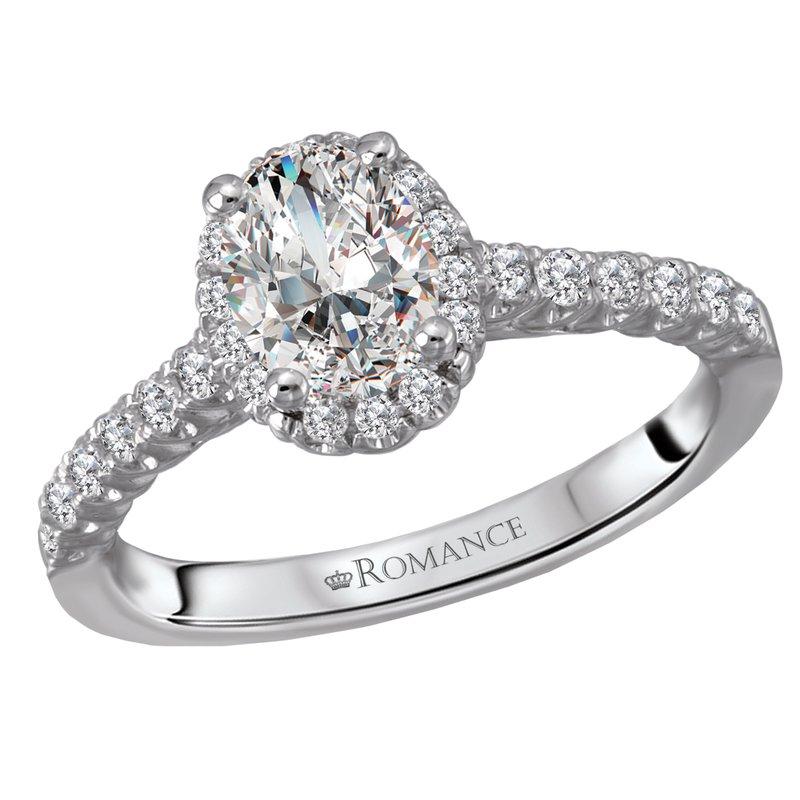 King's Bridal Oval Diamond Halo Engagment Ring