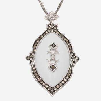 14kt White Agate Pendant w/Wh & Br Diams