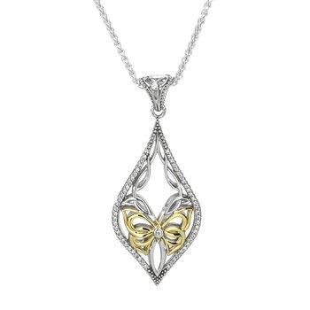 """Butterfly"" Sterling & 10kt CZ Pendant"