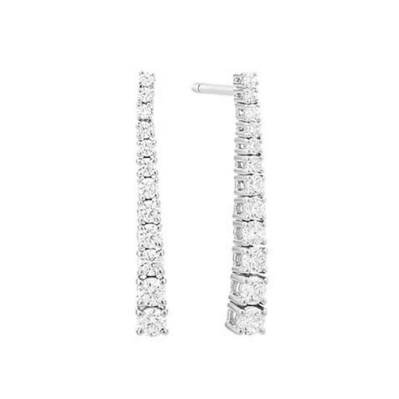 King's White Gold Graduated Diamond Post Earrings