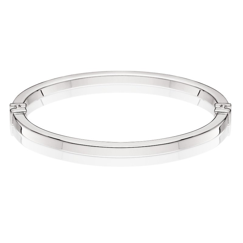 King's Sterling Square Tube Bangle Bracelet