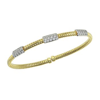 Cable Bangle Bracelet with Diamond Bars
