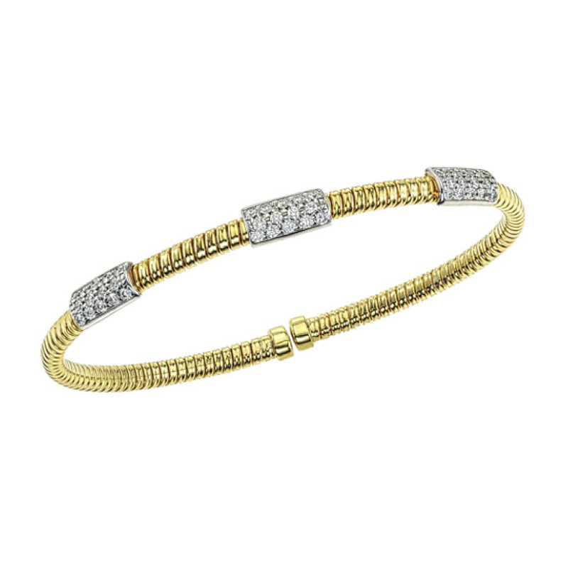King's Cable Bangle Bracelet with Diamond Bars