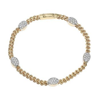 Cable Bracelet with Oval Diamond Spacers