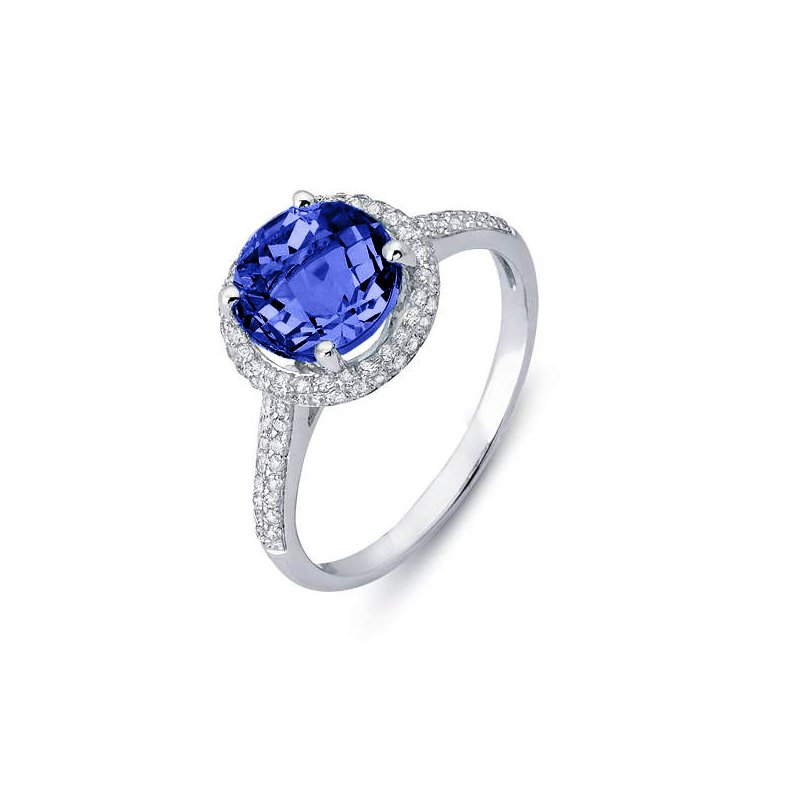 King's Sapphire and Diamond Halo Ring