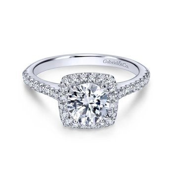 14kt Diam Engagement Ring w/Square Halo & Diams in Shank