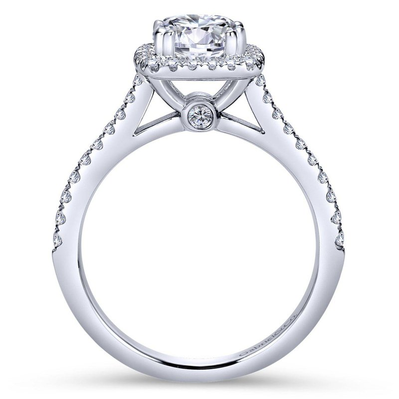 King's Bridal 14kt Diam Engagement Ring w/Square Halo & Diams in Shank