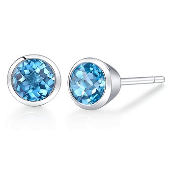 Round Blue Topaz Earrings Bezel Set