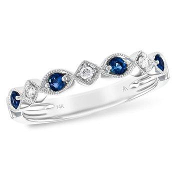 14kt Wht Sapphire & Diamond Band w/Milgrain