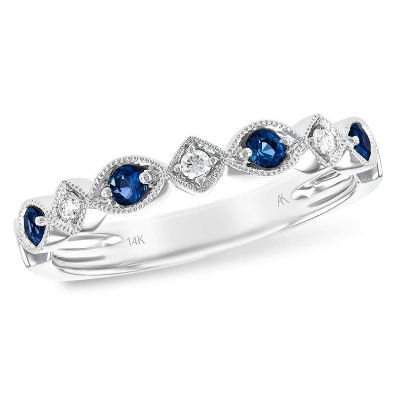 King's 14kt Wht Sapphire & Diamond Band w/Milgrain