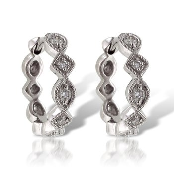 Diamond Hoop Earrings Beaded Design