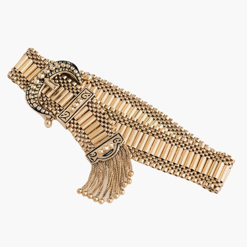 King's Estate Vintage Yellow Gold Buckle Bracelet