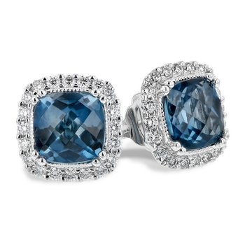London Blue Topaz & Diamond Stud Earrings