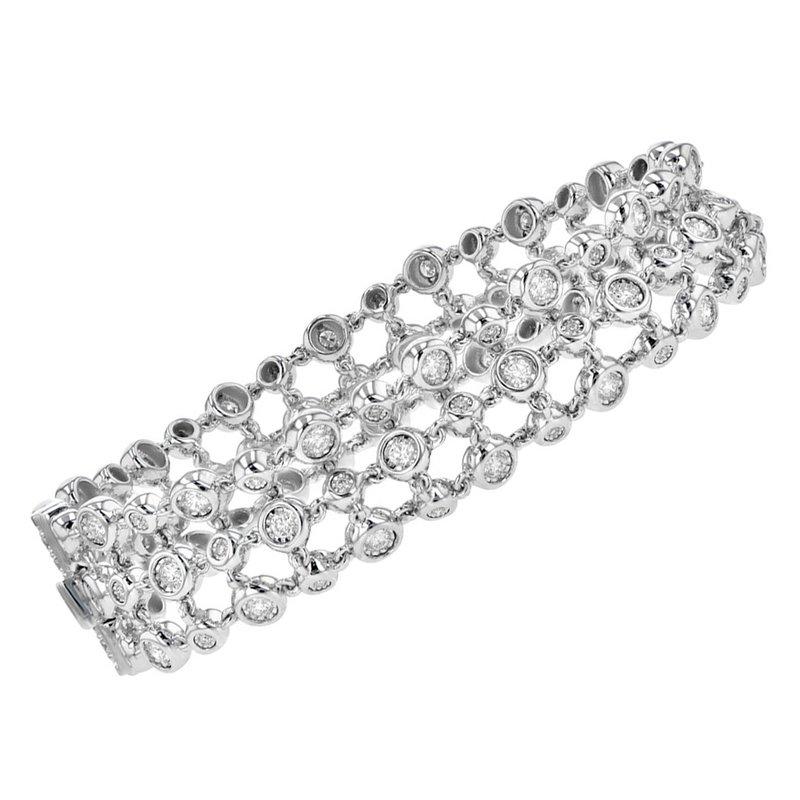 King's Triple Strand Beaded Bracelet with Diamonds