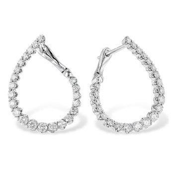 14kt Wht Diamond Oblong Hoop Earrings 1.00tw