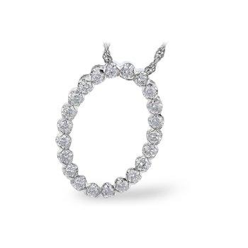 "14kt Wht Oval Diamond Pendant =.50tw 18"" Chain"