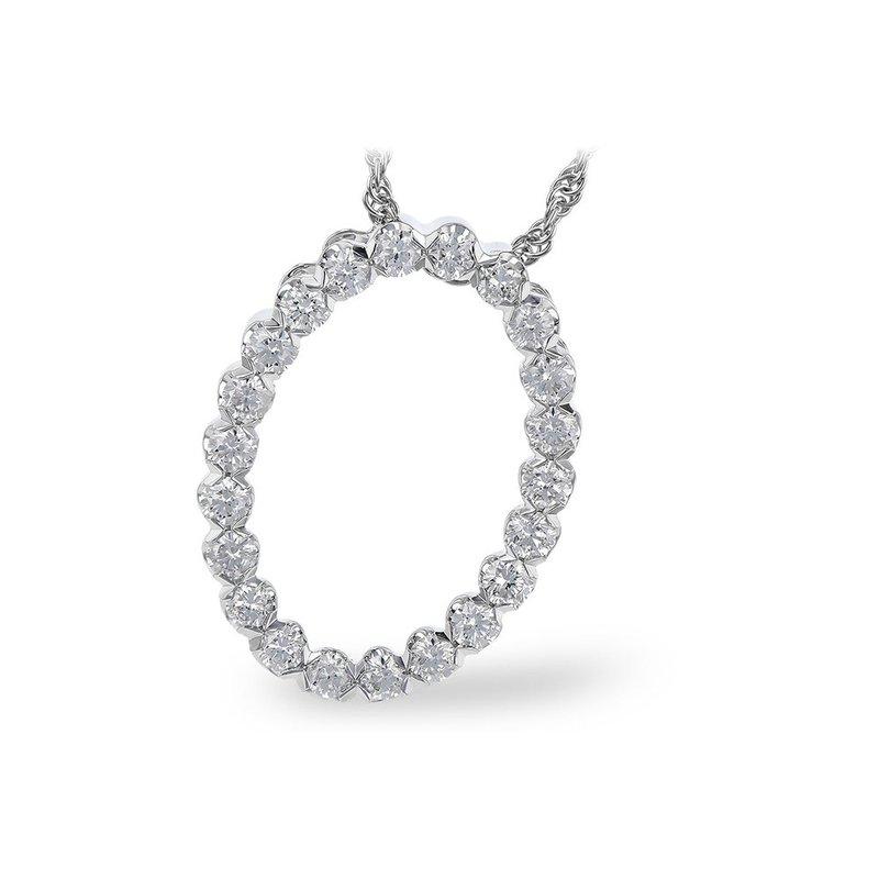 "King's 14kt Wht Oval Diamond Pendant =.50tw 18"" Chain"