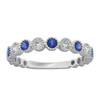 Sapphire and Diamond Band Bezel Set