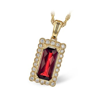 14kt Yel Rectangular Garnet 1.80ct and Diam Pendant