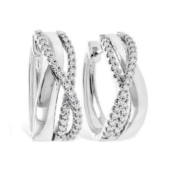 Diamond Hoop Earrings Twisted