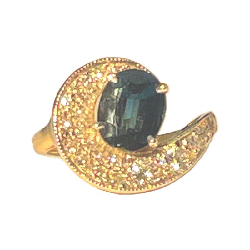 King's Estate 14kt Yel/Wh Gold Sapphire & Diamond Ring