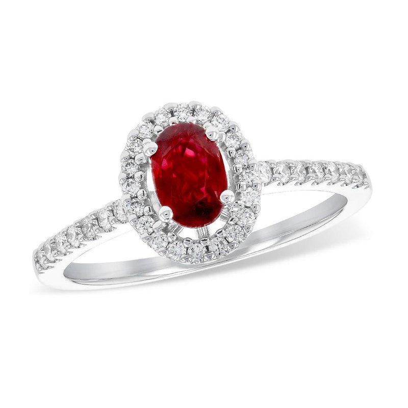 King's Oval Ruby and Diamond Halo Ring