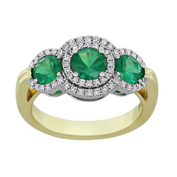 18kt Yel Three Stone Emerald and Diamond Ring