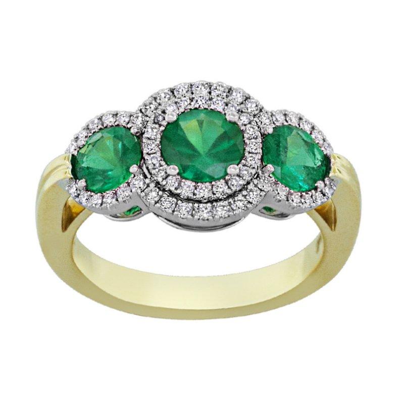 King's 18kt Yel Three Stone Emerald and Diamond Ring