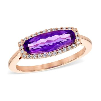 Rectangular Cut Amethyst Halo Ring