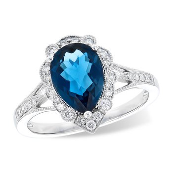 14kt Wh Teardrop London Blue Topaz Ring w/Diams