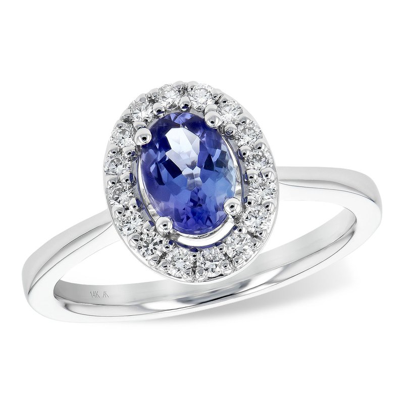 King's Tanzanite and Diamond Halo Ring