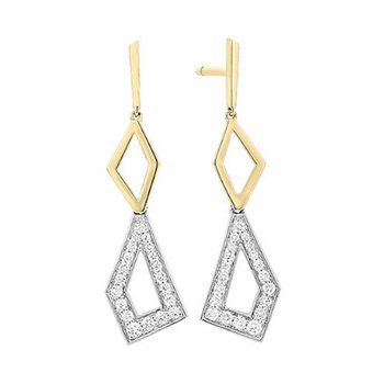 14kt Yel/Wht Geometric Diamond Dangle Earrings
