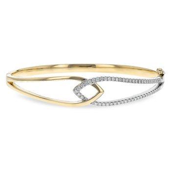 14kt Yellow Diamond Bangle Bracelet =.50tw