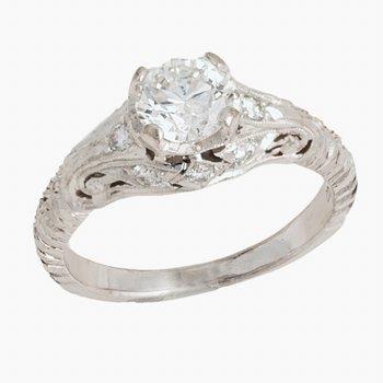 Vintage Style Diamond Ring with .94ct RBC